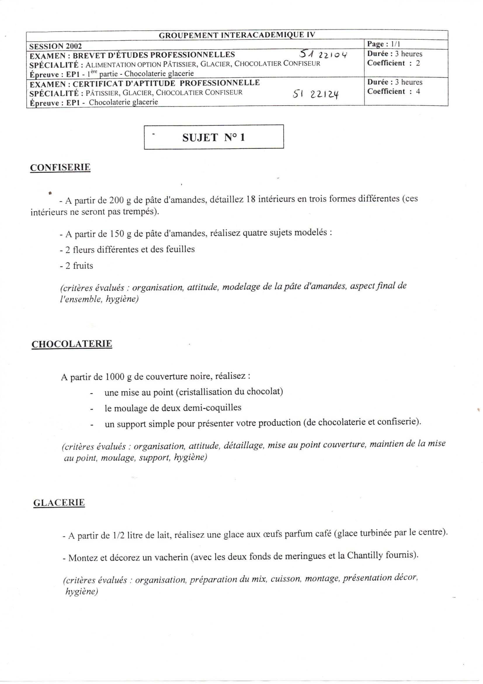 Sujets d 39 examen - Sujet examen cap cuisine ...